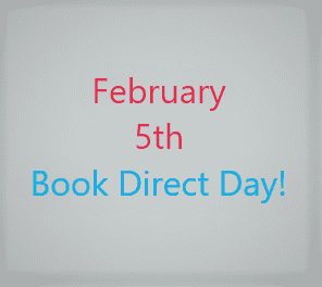 Gray page with red letter February 5th and light blue letter Book Direct Day!