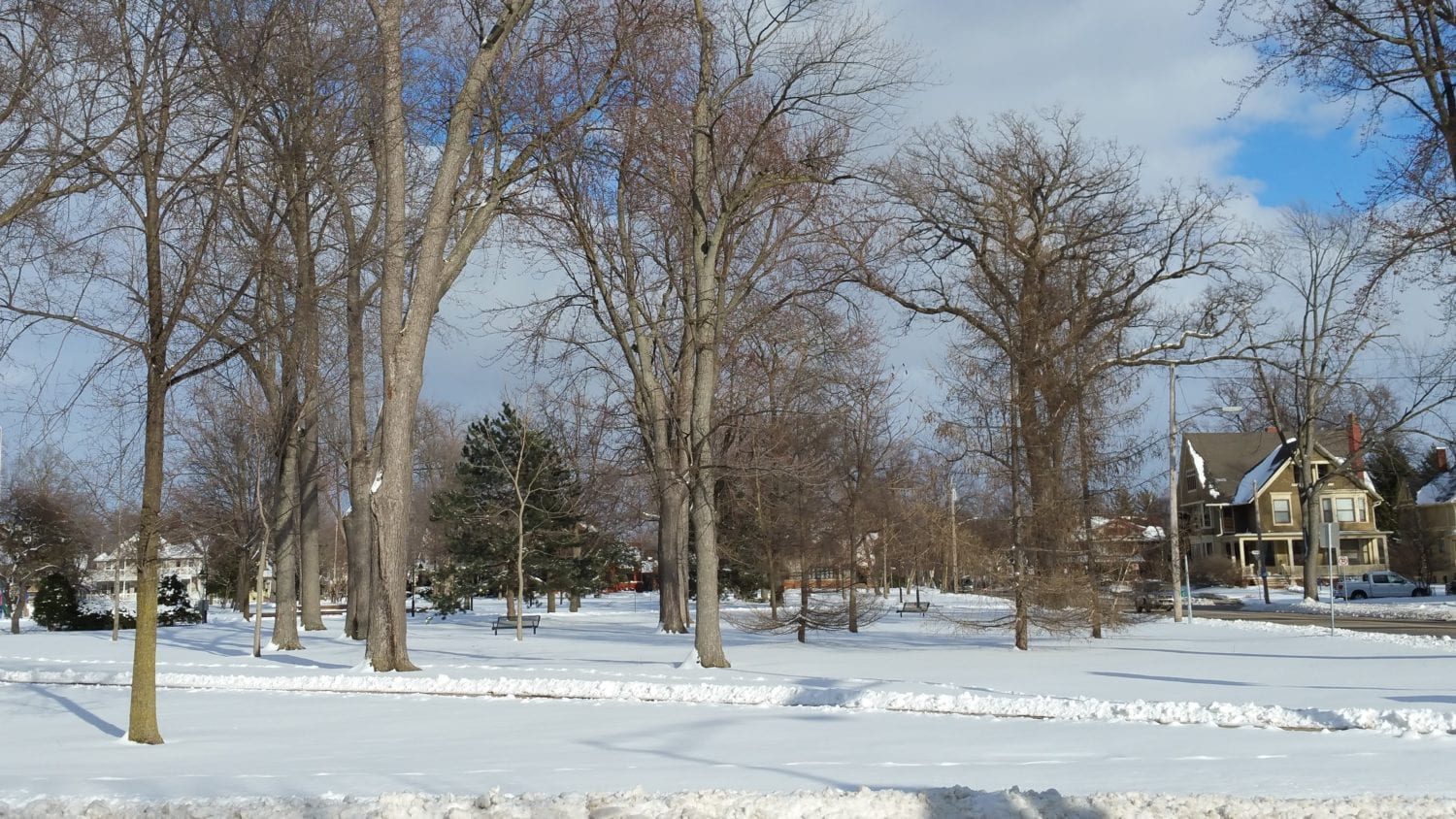Snow covered City Park, Appleton, WI