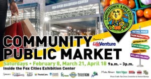 Community Public Market logo for Appleton includes several elements depicting items at the marketplace.