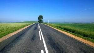 road with green flat land on both sides