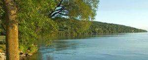 Calm blue waters of Lake Winnebago and tree covered hillside of lush green in background; sea gulls dot the scenery