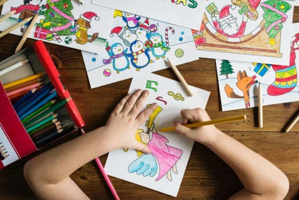 child coloring picture of angel and other Christmas drawings