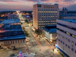 city scene at twilight
