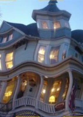 distorted view of inn for advertising murder mystery activity