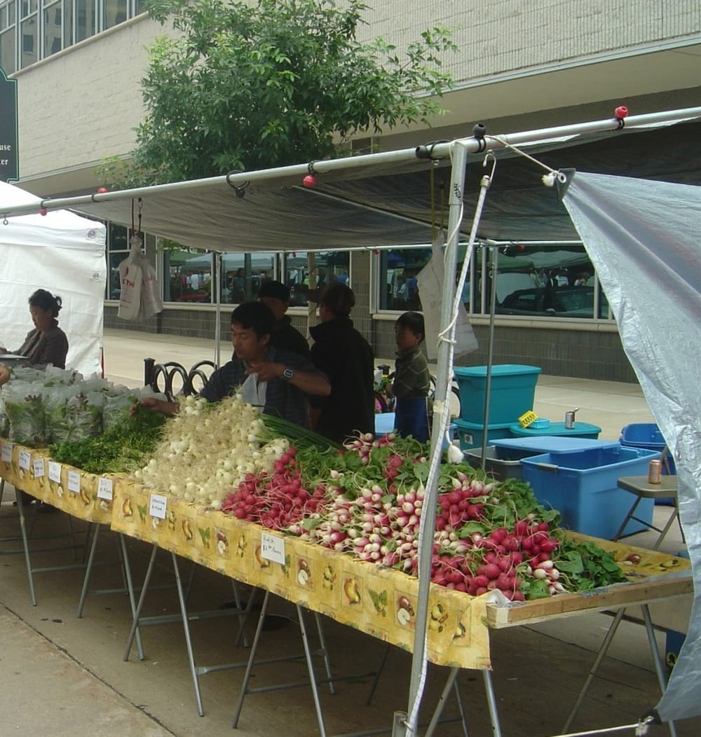 Farmer's market with various vegetables for sale