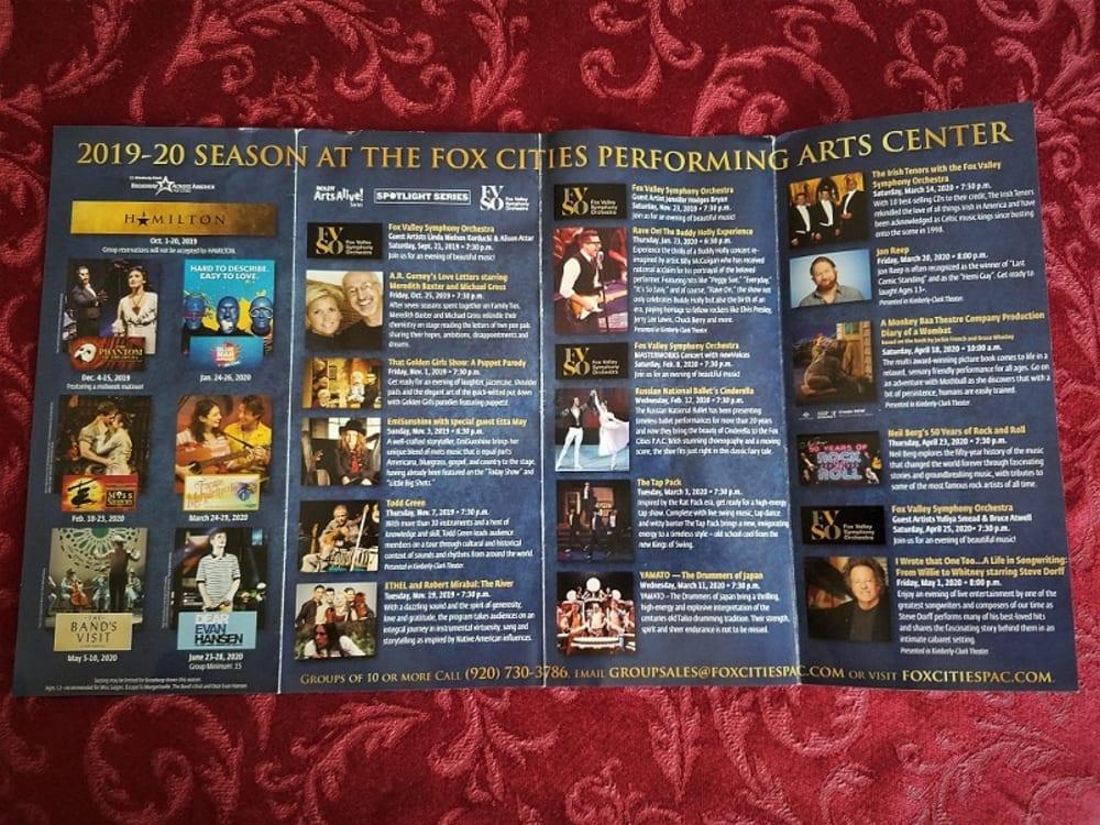Fox Cities Performing Arts Center brochure